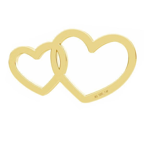 inimi duble aur 14 k au 585 - placat cu aur de 18k