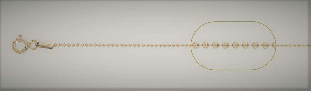 Lant cu bila 1mm 38 cm argint 925 placat cu aur