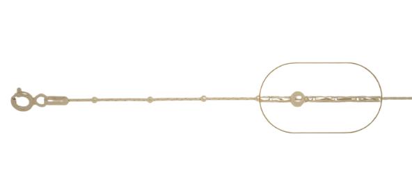 lant   argint 925  placat cu aur cardano cu bilute 45 cm, greutate 1,79 grame