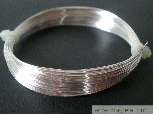 Sarma cupru  argintata, 0,2mm, NON TARNISH - 25 metri   cod xag14