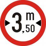 Accesul interzis vehiculelor cu lățimea mai mare de ... m