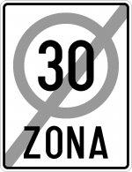 Sfârșitul zonei cu viteza limitată la 30 km/h