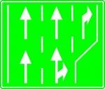 Selectarea circulației pe direcții de mers în apropierea intersecției de pe autostradă
