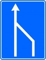 Terminarea benzii de circulație din dreapta părții carosabile