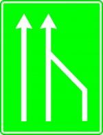 Terminarea benzii de circulație din dreapta părții carosabile pe autostradă