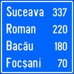 Confirmarea direcției de mers spre localități mai importante și distanțele până la acestea