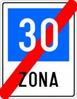 Sfârșitul zonei cu viteza recomandată 30 km/h