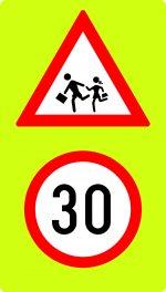 Panou copii + limitare de viteză