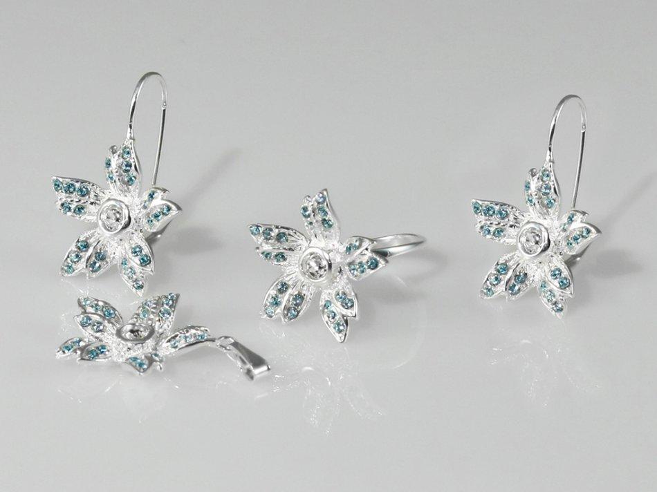Set inel, pandantiv si cercei cristale swarovski albastre