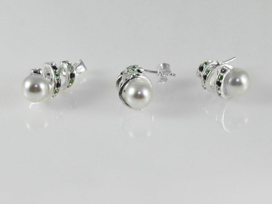 Set pandantiv si cercei cu swarovski si perla intetica 375-SE