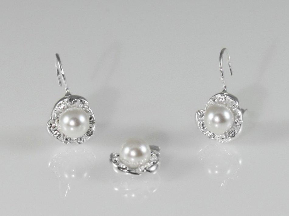 Set pandantiv si cercei cu cristale si perla sintetica 380-SE