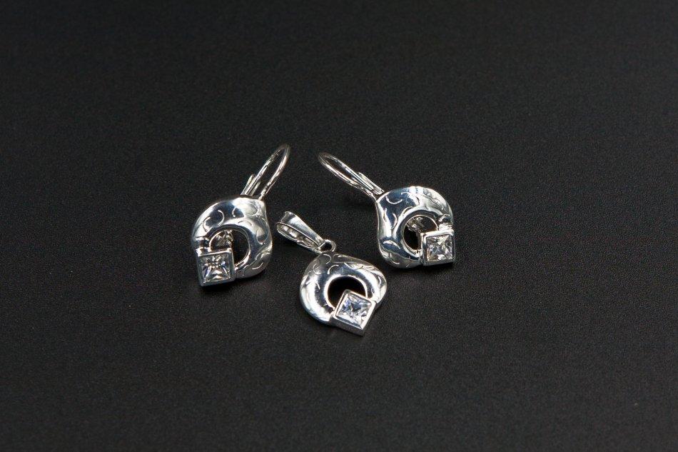 Set argint pandantiv si cercei cu zirconiu 1295-S