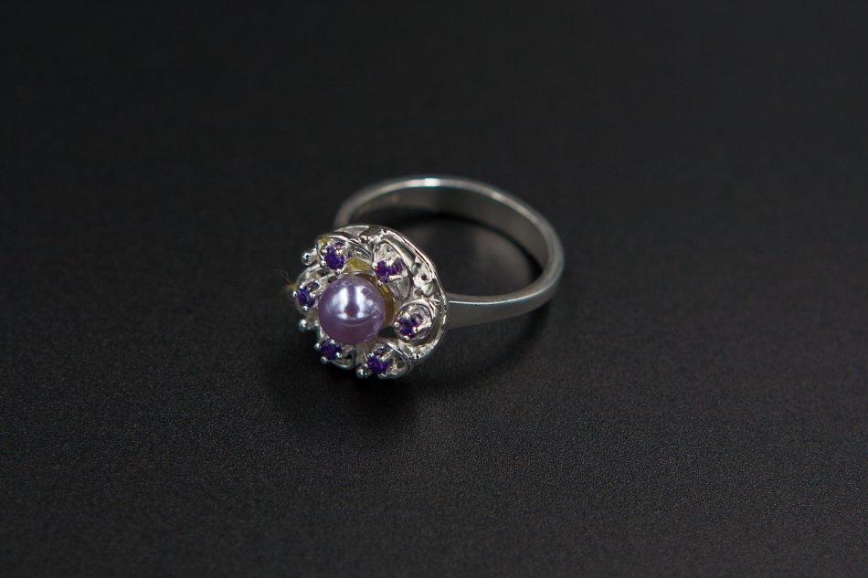Inel perla sintetica si pietre zirconiu  1441-I