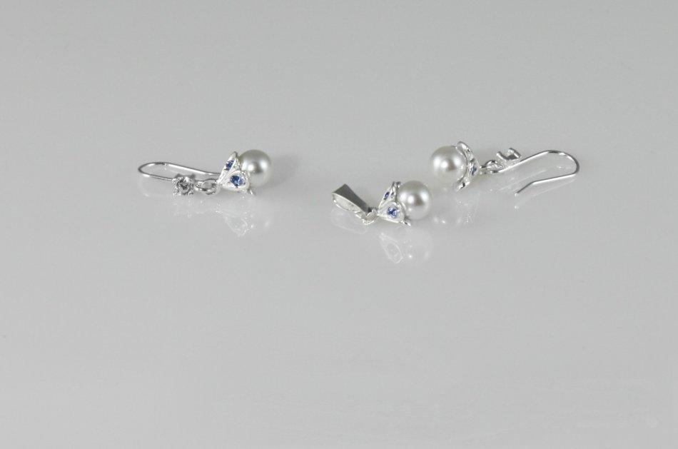 Set argint cu cristale Swarovski  si perla sintetica 1627-S