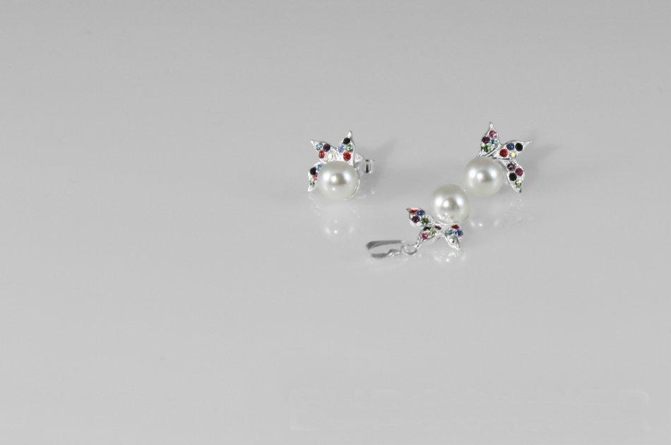 Set argint 925 cu cristale Swarovski si perle sintetice 1653-S