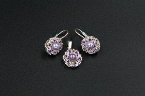 Set argint cercei si pandantiv , perla sintetica si pietre zirconiu 1305-S