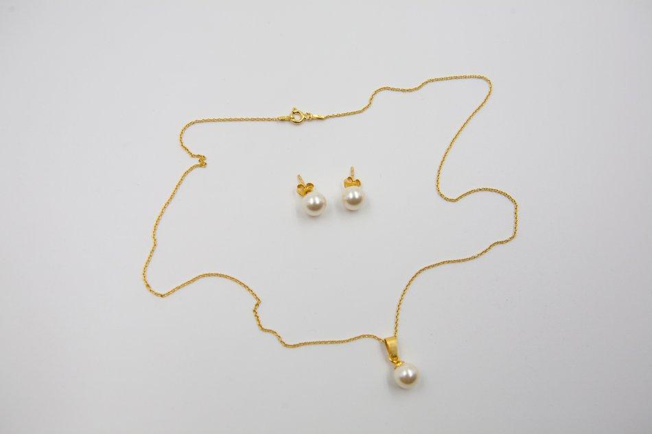 Set lantisor cu pandant si cercei, din argint 925 placat cu aur cu perla swarovski  2353-S