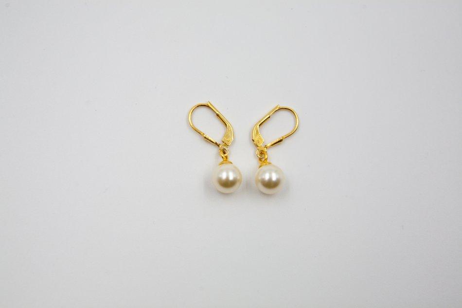 Cercei argint 925 placati cu aur cu perle swarovski ; 2357-C
