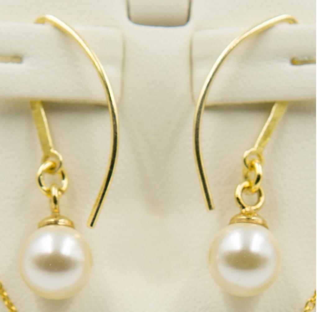 Cercei argint 925 placat cu aur cu perle swarovski ; 2593-C