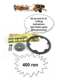 Kit lant D.I.D O-Ring+pinion atac+foaie spate Mino aluminiu