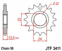 JT PINION ATAC ATV BOBMARDIER  16 650 (JTF3411.16)  (530)