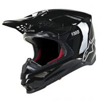 Casca Alpinestars Supertech M8 Solid MX Helmet Black/White