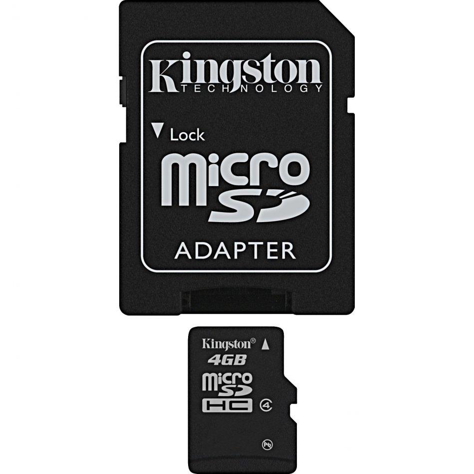 Card memorie MicroSDHC 4GB  adaptor SD (class4) Kingston