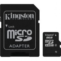 Card memorie MicroSDHC 8GB + adaptor SD (class4) Kingston