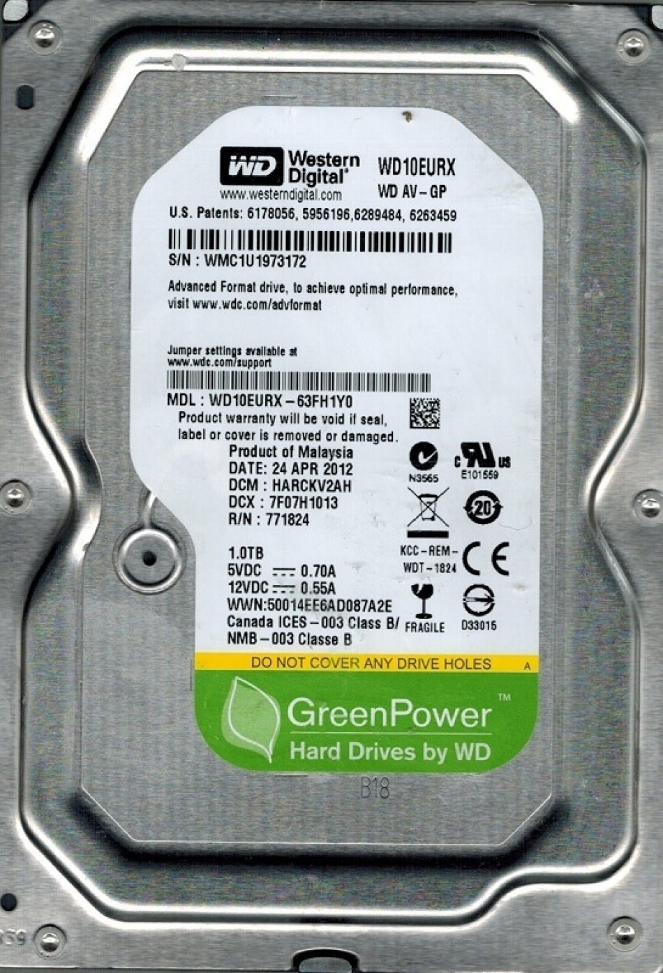 HDD WD 1TB 5400rpm 64MB SATA3 (WD10EURX)