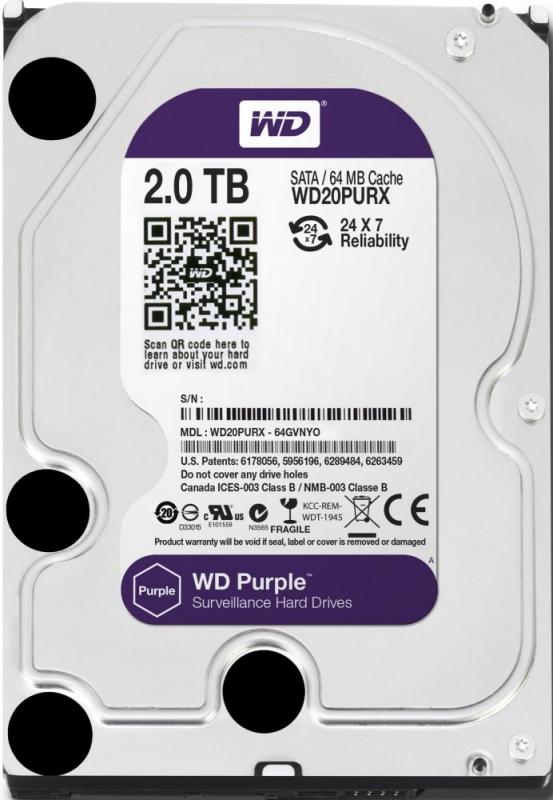 HDD WD Purple 2TB 64MB SATA3 (WD20PURX)