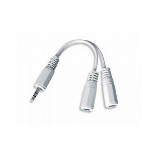 Cablu Audio spliter, conectori jack de 3.5mm la 2x conectori stereo, lungime cablu: 10cm, bulk, Alb, GEMBIRD (CCA-415W)