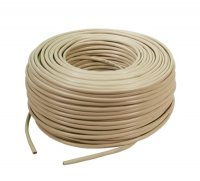 Cablu FTP cat. 5e, 4x2 AWG 24/1, din PVC, solid, lungime rola: 305m, retail, Bej, LOGILINK (CPV003)