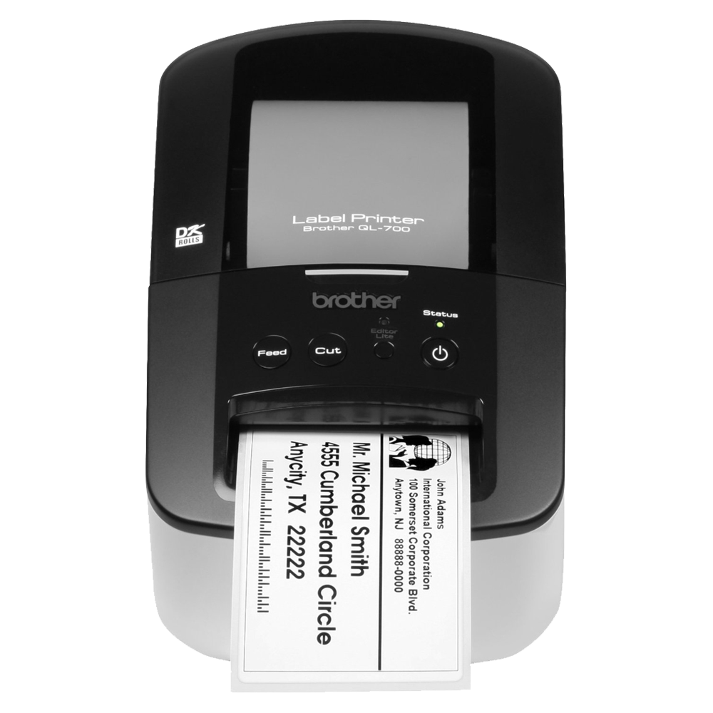QL700, Label Printer Plug n Print, DK tape and DK label up to 62 mm width, Built in software - no instalation required, 300 x 300 or 300 x 600 dpi, print speed: 150 mm (5.9