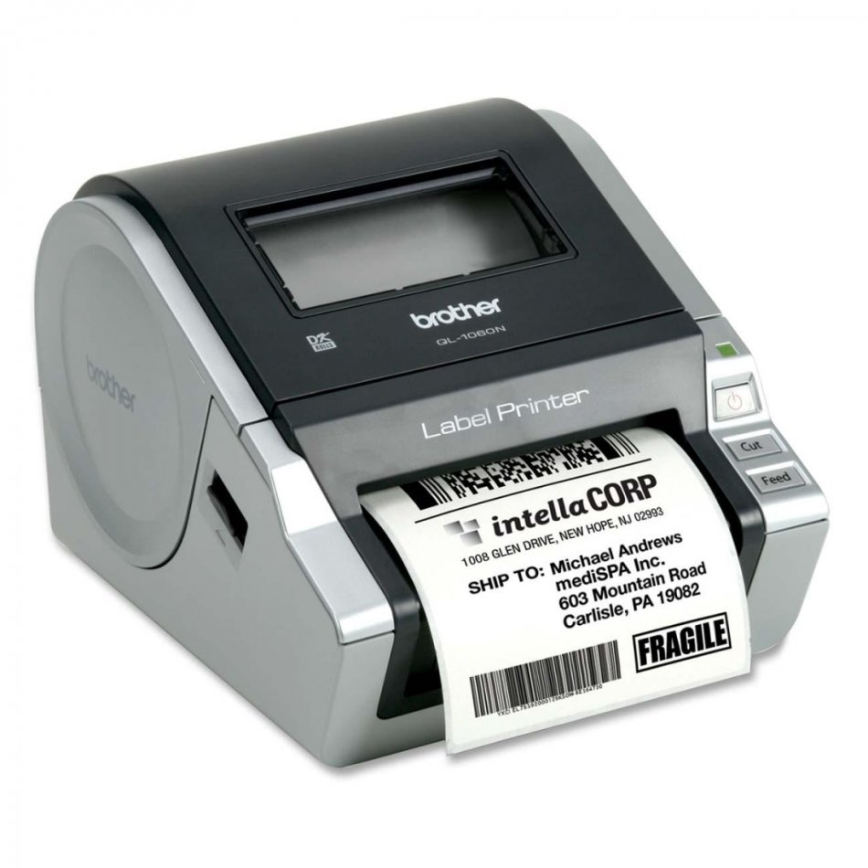 QL1060, Imprimanta etichete direct termică , DK tape and DK lable up to 102 mm width, 110 mm/s print speed, automatic Cutter.RS232/Serial &USB port, ESC/P programming.  1DK11241 (40 labels), 1DK22205 (8m), USB and mains cable  + Network Ready (incorporat