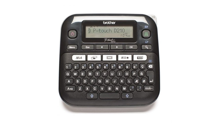 Brother PTD210 P-touch imprimanta etichete, Desktop, QWERTY keyboard, TZ tapes 3.5 to 12 mm, 20mm/s print speed Battery & adapter optional, Graphic Display, Template library, Flat keyboards