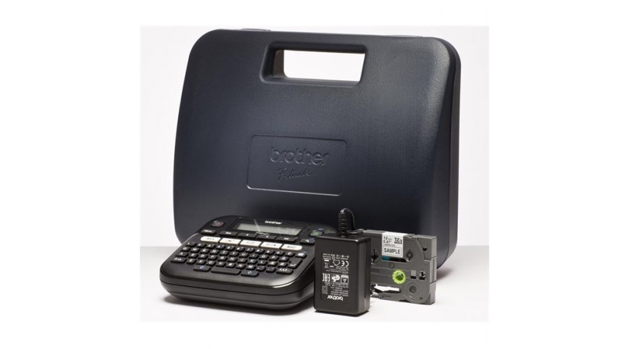 Brother PTD210VP  P-touch imprimanta etichete, Desktop, QWERTY keyboard, TZ tapes 3.5 to 12 mm, 20mm/s print speed, Battery & adapter optional, Graphic Display, Template library, Flat keyboards, 1TZE231(4m), Adapter AC, Carry Case