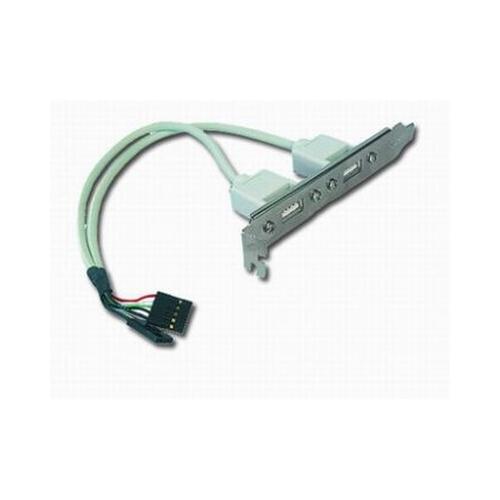 Cablu de date intern, conectori 2x USB, pe suport metalic, adaptor, bulk, GEMBIRD (CCUSBRECEPTACLE)