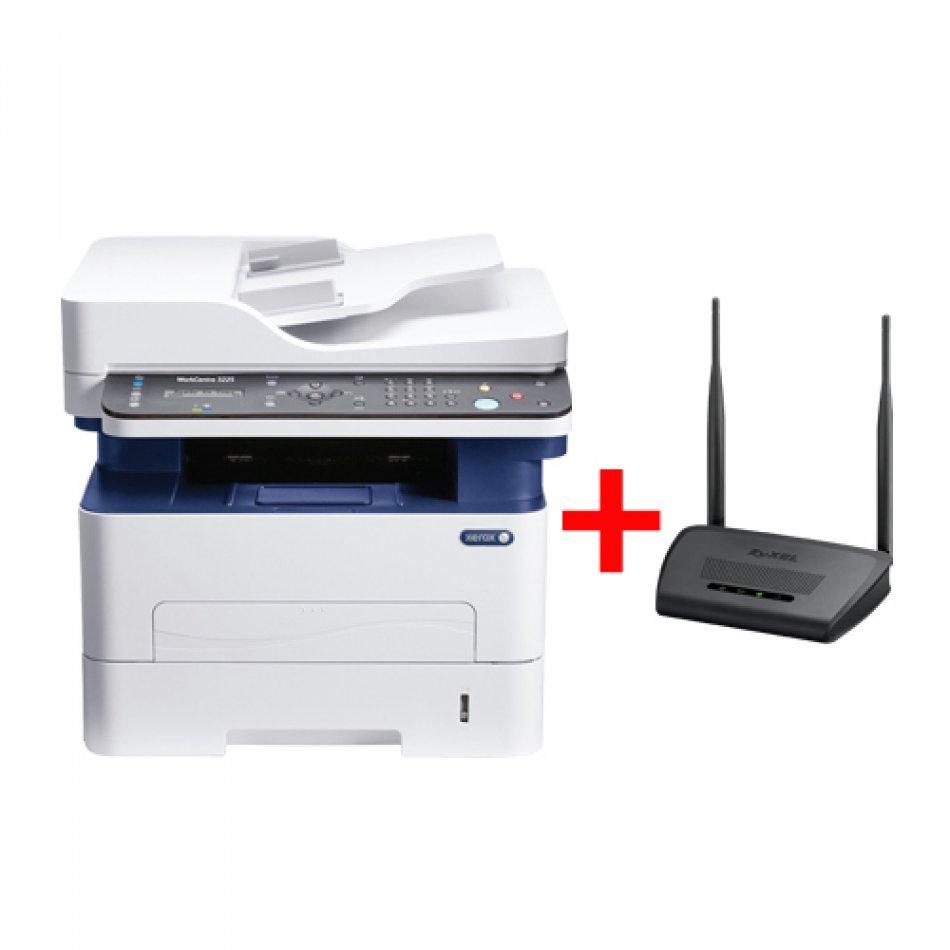 Xerox WorkCentre 3225 + bonus router ZyXEL NBG-418N V2 , Multifunctional laser mono A4 ( print/copy/scan/fax), viteza printare: 28ppm, max 4800x1200dpi, fpo 8.5 sec, memorie 256MB, ADF 40 coli, tava 250 coli, duplex, limbaje PCL6/5e, PS3; copy: max 1200x1