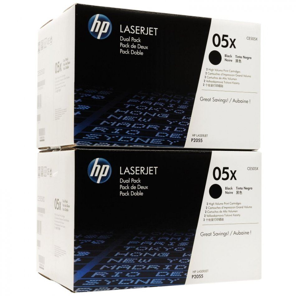 Toner Original pentru HP Negru Dual Pack, compatibil P2055, 2x6500pag (CE505XD)