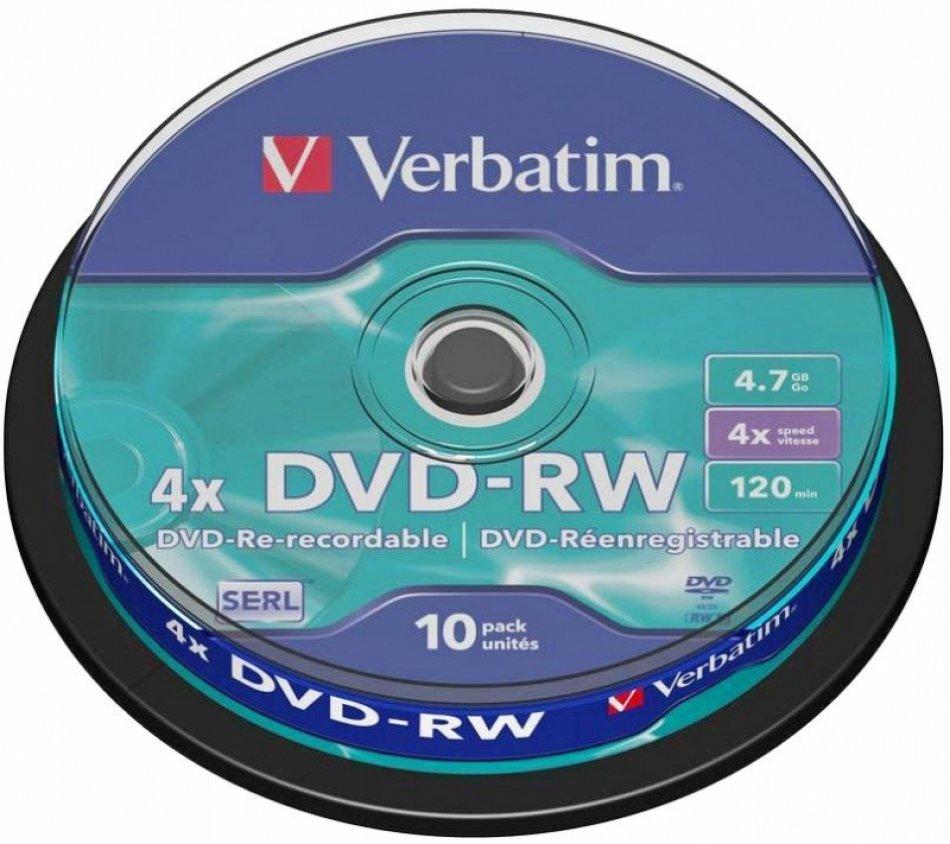 BLANK  DVD-RW Verbatim  SL 4X 4.7GB  10PK SPINDLE MATT SILVER (43552)