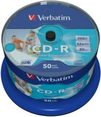 CD-R Verbatim AZO 52X 700MB 50PK SPINDLE WIDE INKJET PRINTABLE NO ID (43438)