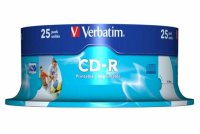 CD-R Verbatim AZO 52X 700MB 25PK SPINDLE WIDE INKJET PRINTABLE ID BRANDED (43439)