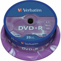 DVD+R Verbatim SL 16X 4.7GB 25PK SPINDLE MATT SILVER (43500)