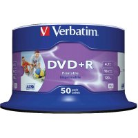 DVD+R Verbatim SL 16X 4.7GB 50PK SPINDLE WIDE INKJET PRINTABLE NO ID (43512)