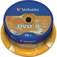 DVD-R Verbatim SL 16X 4.7GB 25PK SPINDLE MATT SILVER (43522)