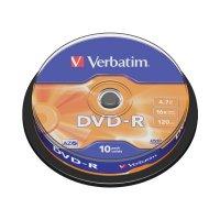 BLANK  DVD-R Verbatim  SL 16X 4.7GB  10PK SPINDLE MATT SILVER (43523)
