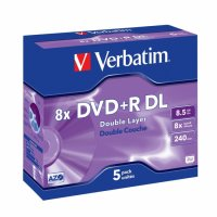DVD+R Verbatim DL 8X 8.5GB 5PK JC MATT SILVER (43541)