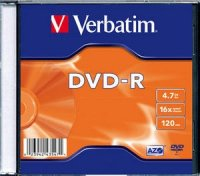 DVD-R Verbatim SL 16X 4.7GB SINGLE SLIM CASE MATT SILVER (43547)
