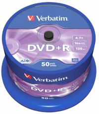 DVD+R Verbatim SL 16X 4.7GB 50PK SPINDLE MATT SILVER (43550)