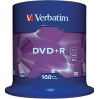 DVD+R Verbatim SL 16X 4.7GB 100PK SPINDLE MATT SILVER (43551)